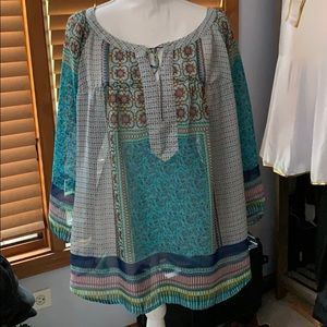 Anthropologie Multicolored Fig & Flower Top